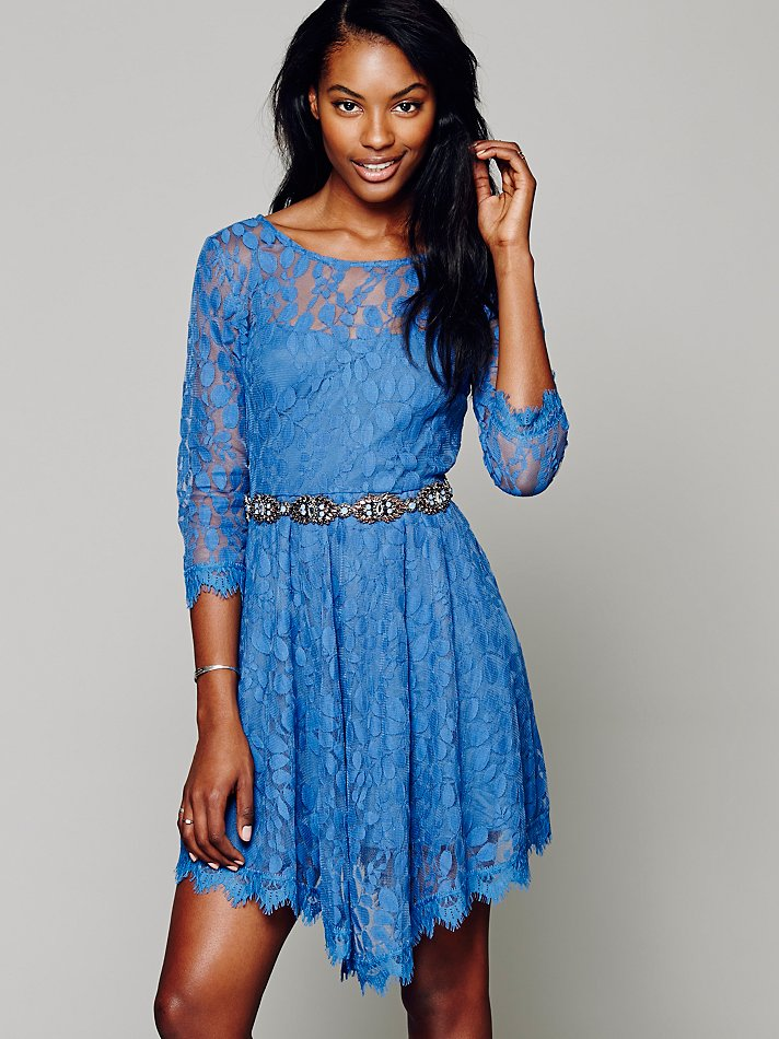 Free people Womens Floral Mesh Lace Dress in Blue | Lyst