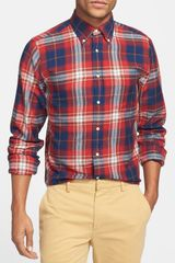 Gant Rugger Indigo Twill Plaid Shirt - Lyst