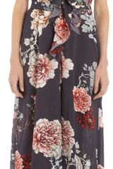 L'Agence Floral Print Vneck Long Slit Dress - Lyst