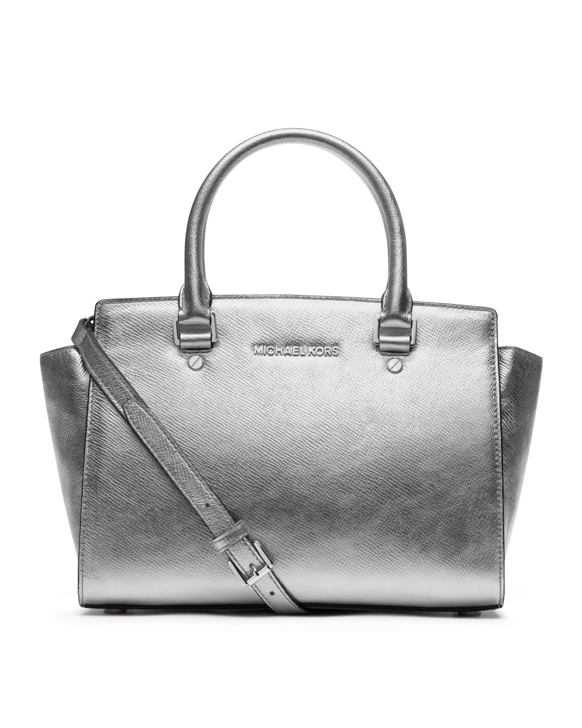 e03d27964 Michael Kors Michael Medium Selma Topzip Satchel in Metallic - Lyst