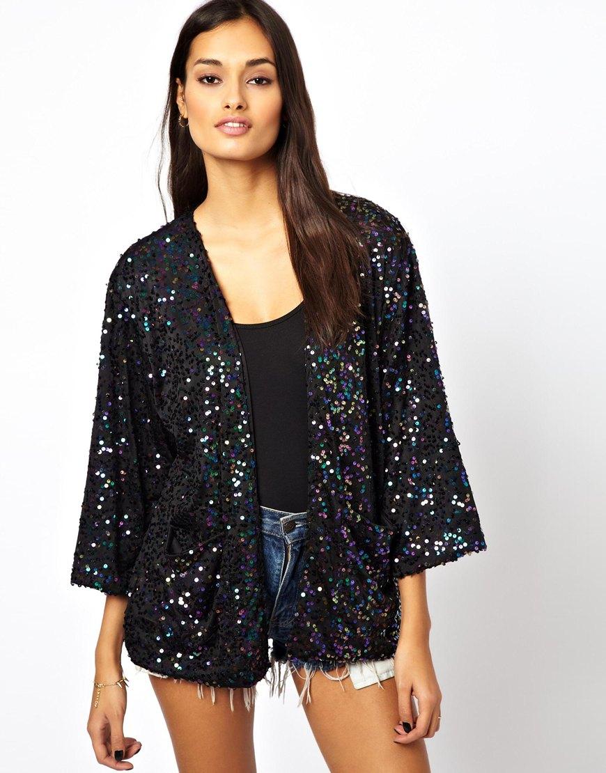 Asos Motel Sequin Kimono Jacket in Black   Lyst