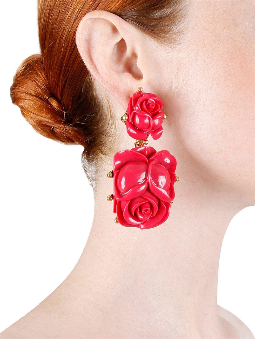Lyst Oscar De La Renta Flower Earrings Burgundy