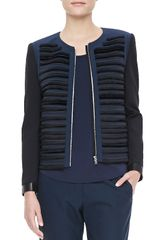 Rag & Bone Gray Ribbed Zip Jacket - Lyst