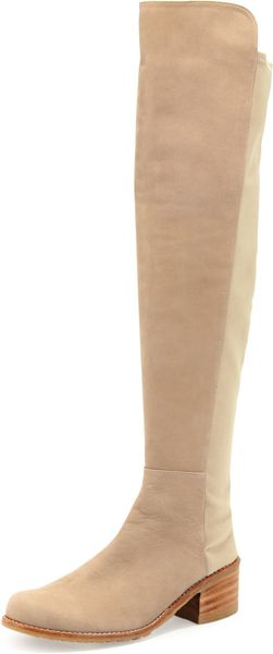 Stuart Weitzman Reserve Narrow Nubuck Overtheknee Boot Tan Made To Order - Lyst