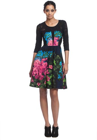 Tracy Reese Three Quarter Sleeve Floral Printed Dress - Lyst