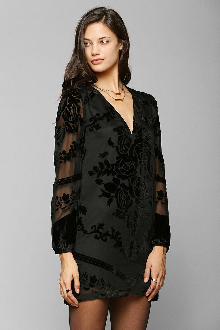Lyst Urban Outfitters Burnout Velvet Balloon Sleeve