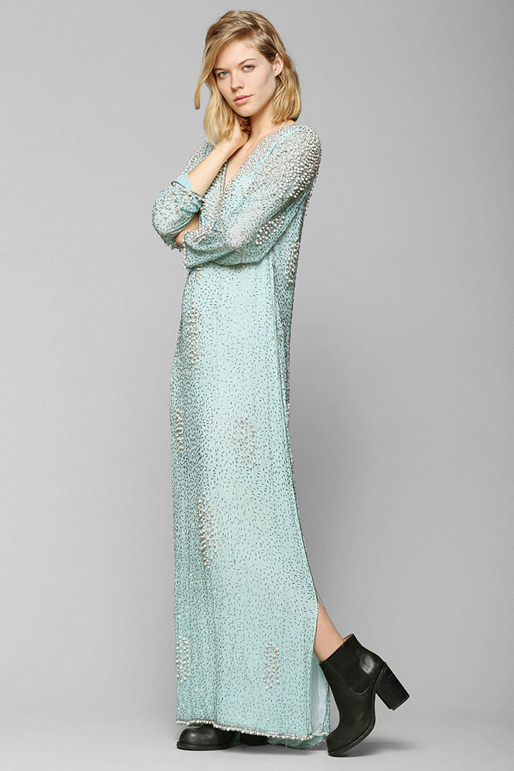 Urban Outfitters Vintage Beaded Maxi Dress in Blue