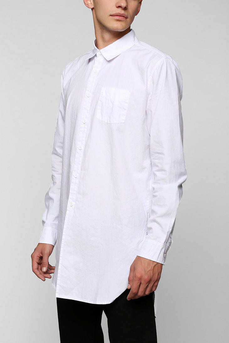 Kill city Long Button-Down Shirt in White for Men | Lyst