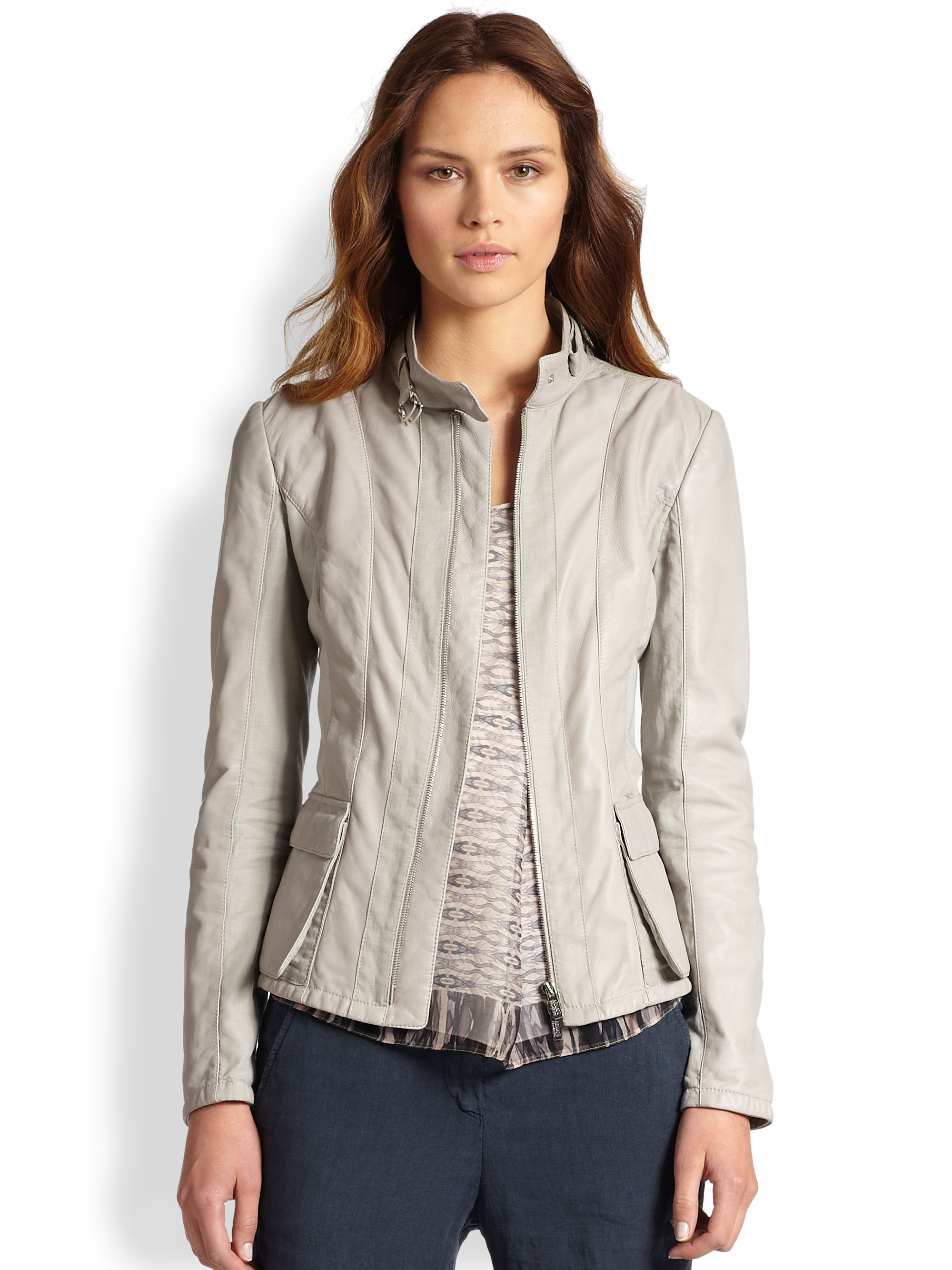 Lyst Armani Leather Amp Cotton Flax Jacket In Gray