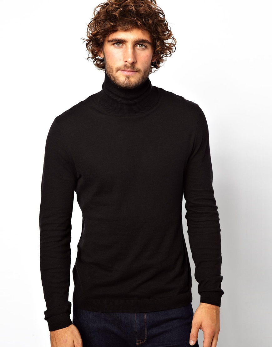 c75e0f676 ASOS Roll Neck Jumper In Black Cotton in Black - Lyst