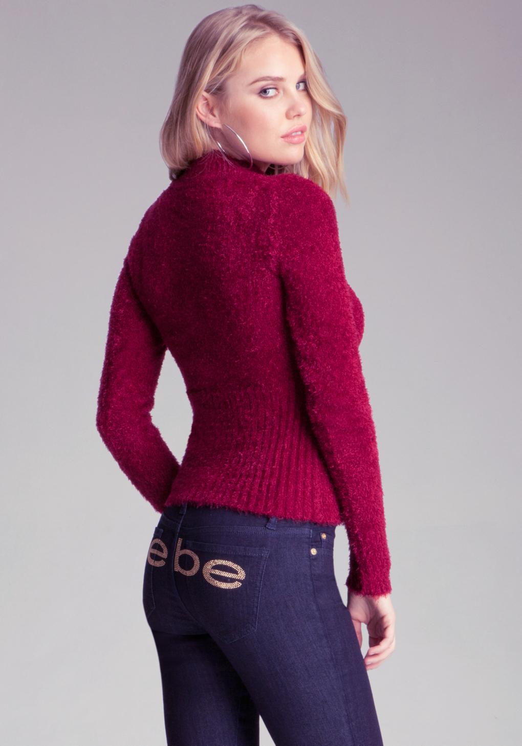 Lyst Bebe Logo Keyhole Sweater In Red