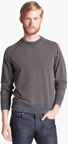 Billy Reid Martin Stripe Crewneck Sweatshirt - Lyst