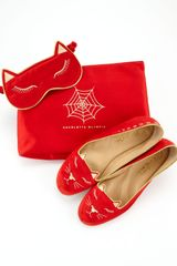 Charlotte Olympia Satin Kitty Slippers Eye Mask Set Red - Lyst