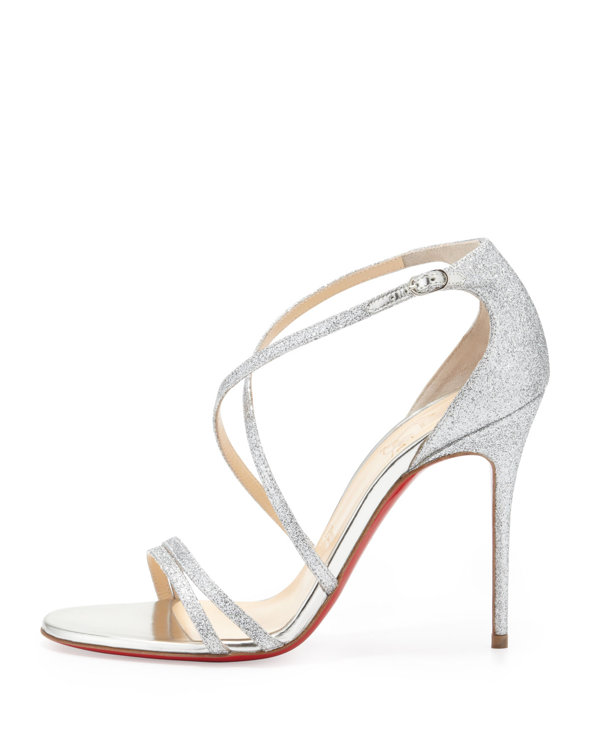 louboutin sandals silver