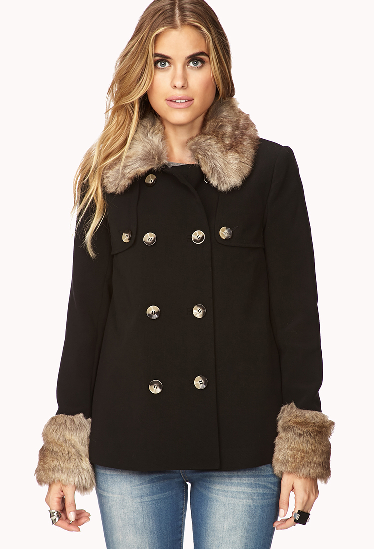Forever 21 Contemporary Faux Fur-trimmed A-line Coat in Black | Lyst