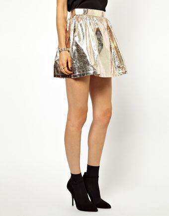 Ganni Skater Skirt in Gold Foil - Lyst