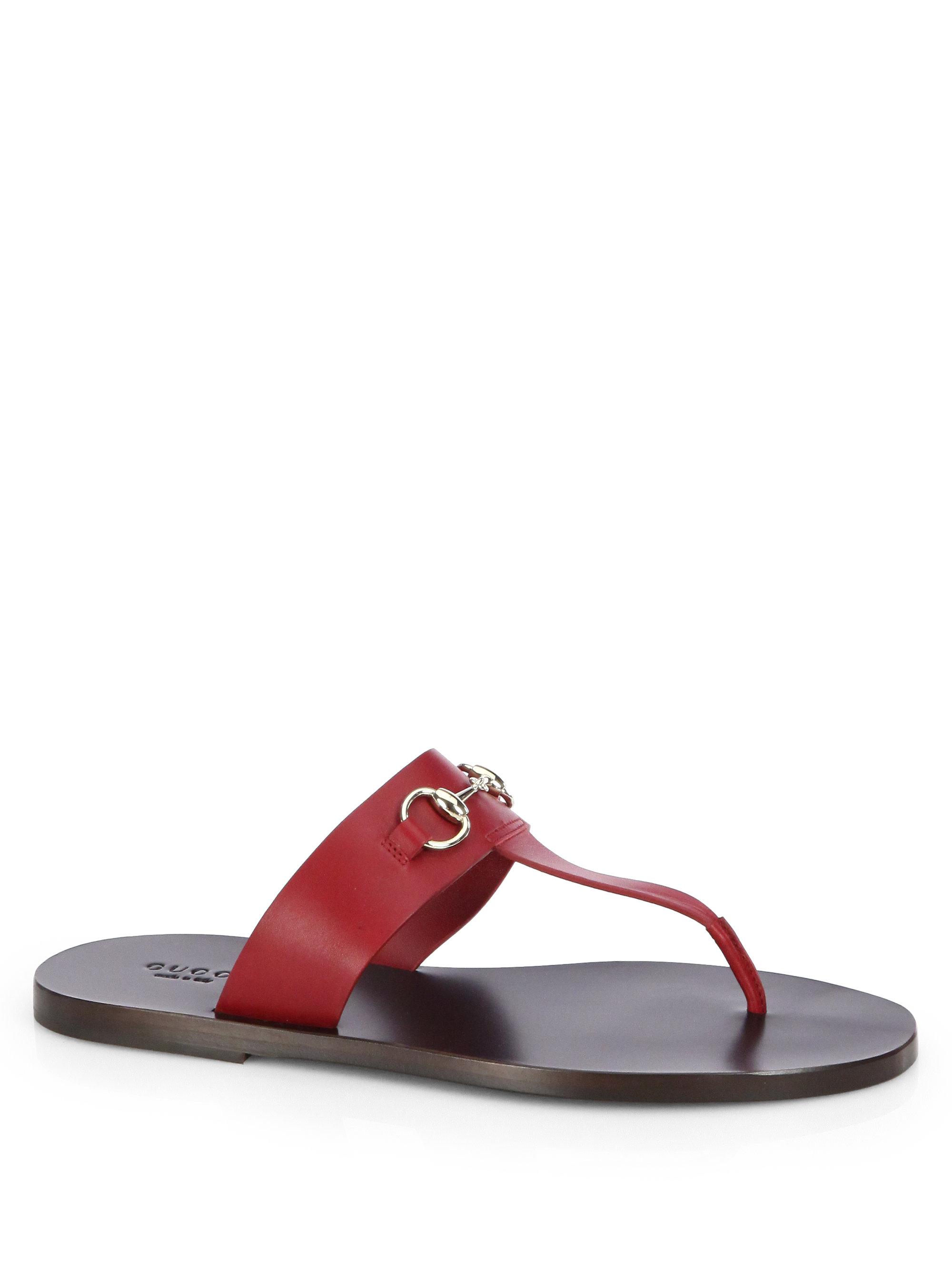 9f80ee19e Gucci Marcy Leather Horsebit Thong Sandals in Red - Lyst