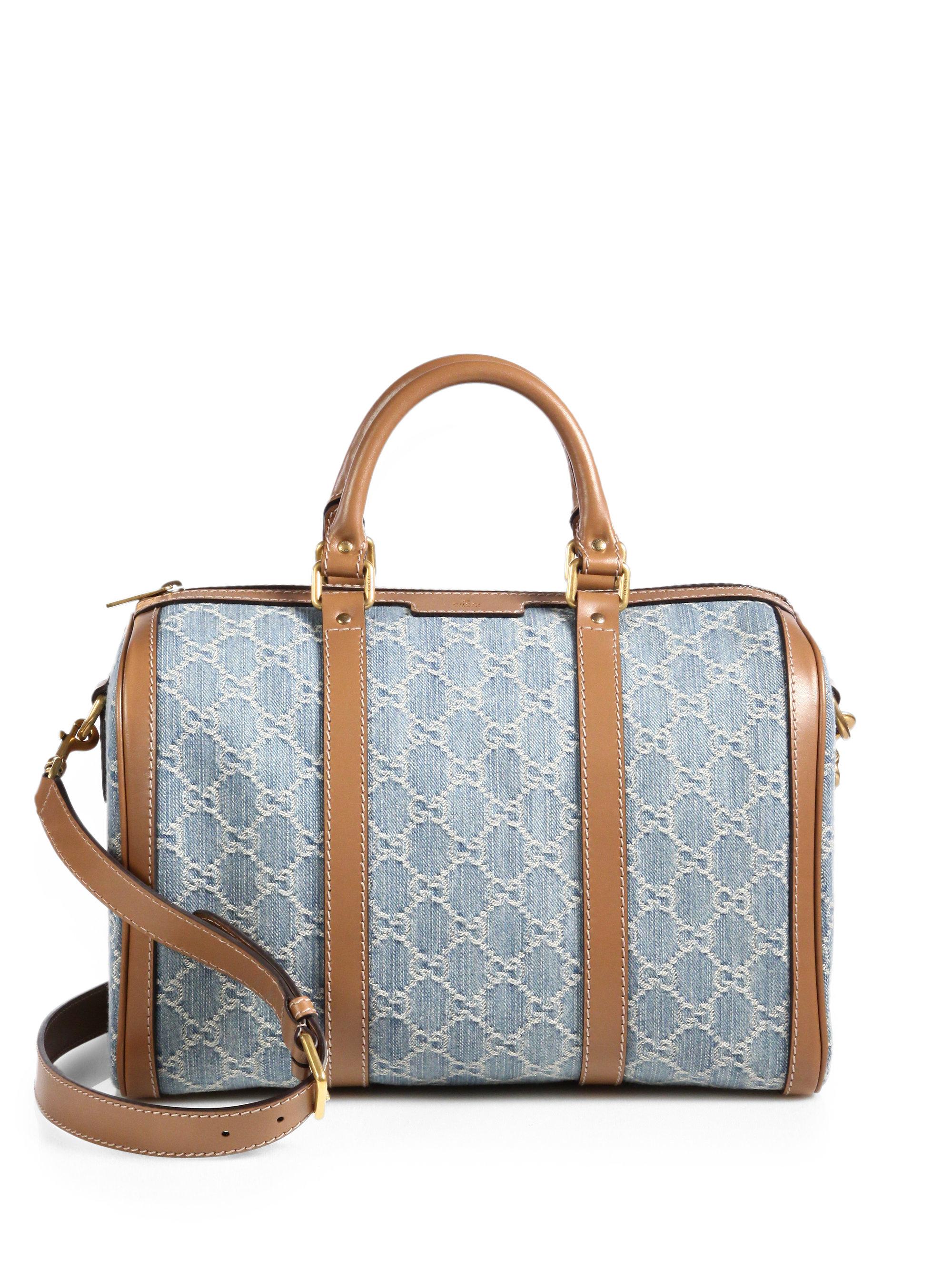 Boston Bag Patchwork Tutorial: Gucci Vintage Web Gg Denim Boston Bag In Blue (SKY TAN)