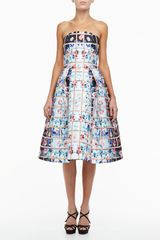Mary Katrantzou Floral Grid Nevis Strapless Dress Multicolor - Lyst