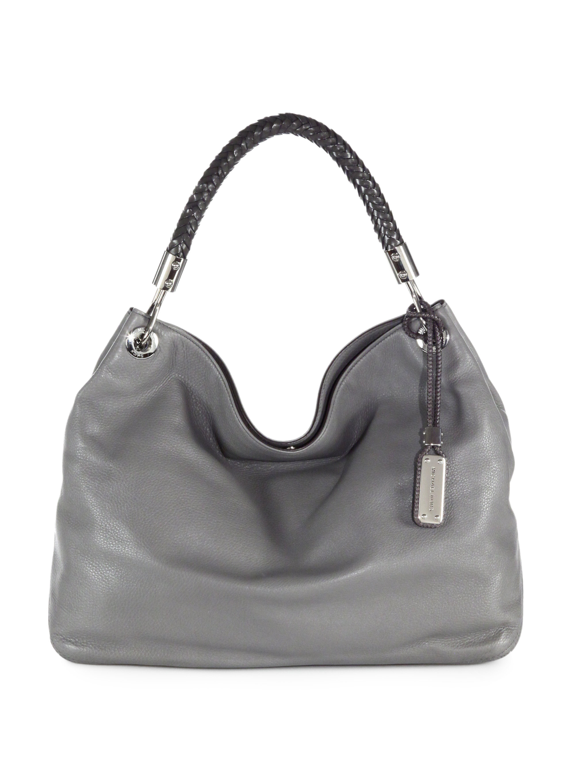 7cb17e5943e5 ... czech lyst michael kors skorpios leather shoulder bag in gray 8cc67  72b14