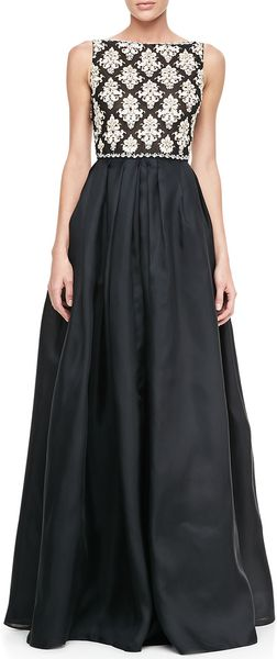 Naeem Khan Sleeveless Embroideredbodice Ball Gown - Lyst