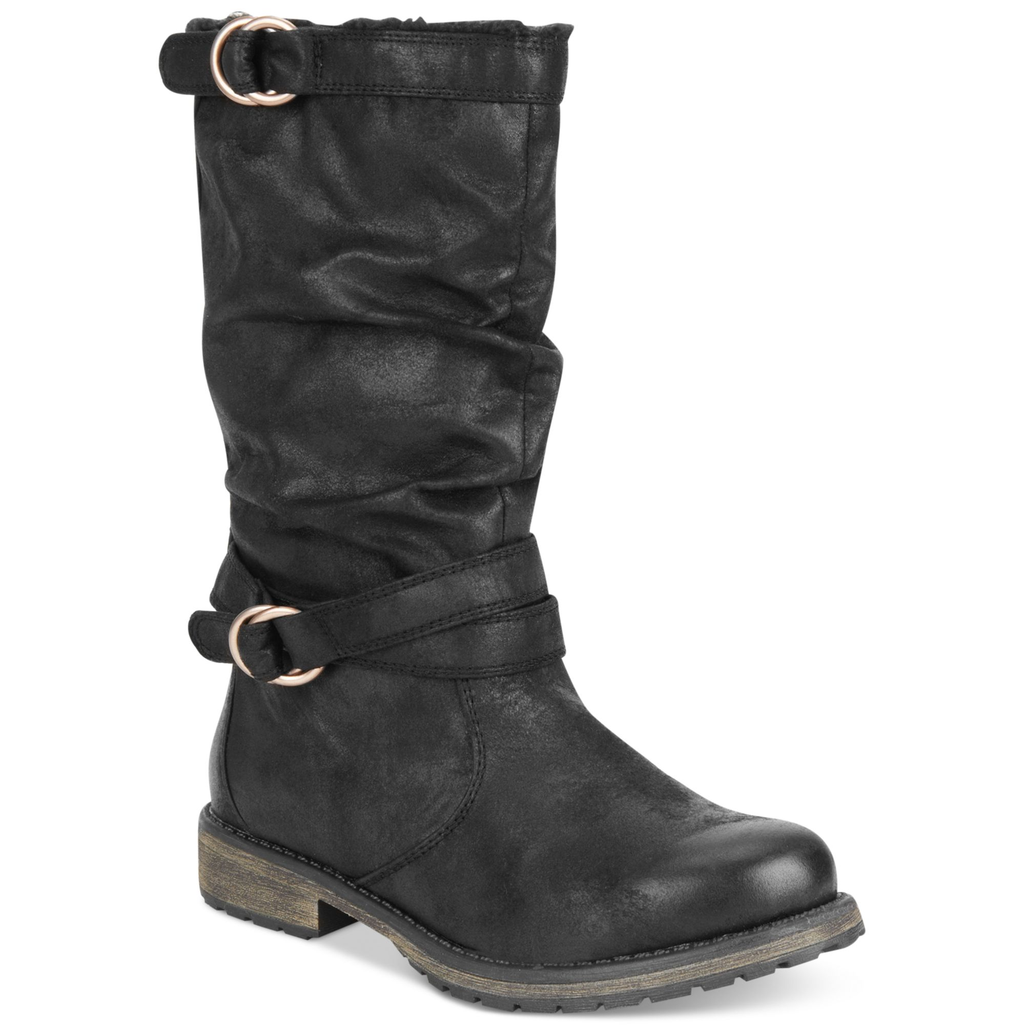 boots mid calf boots flat boots in black lyst