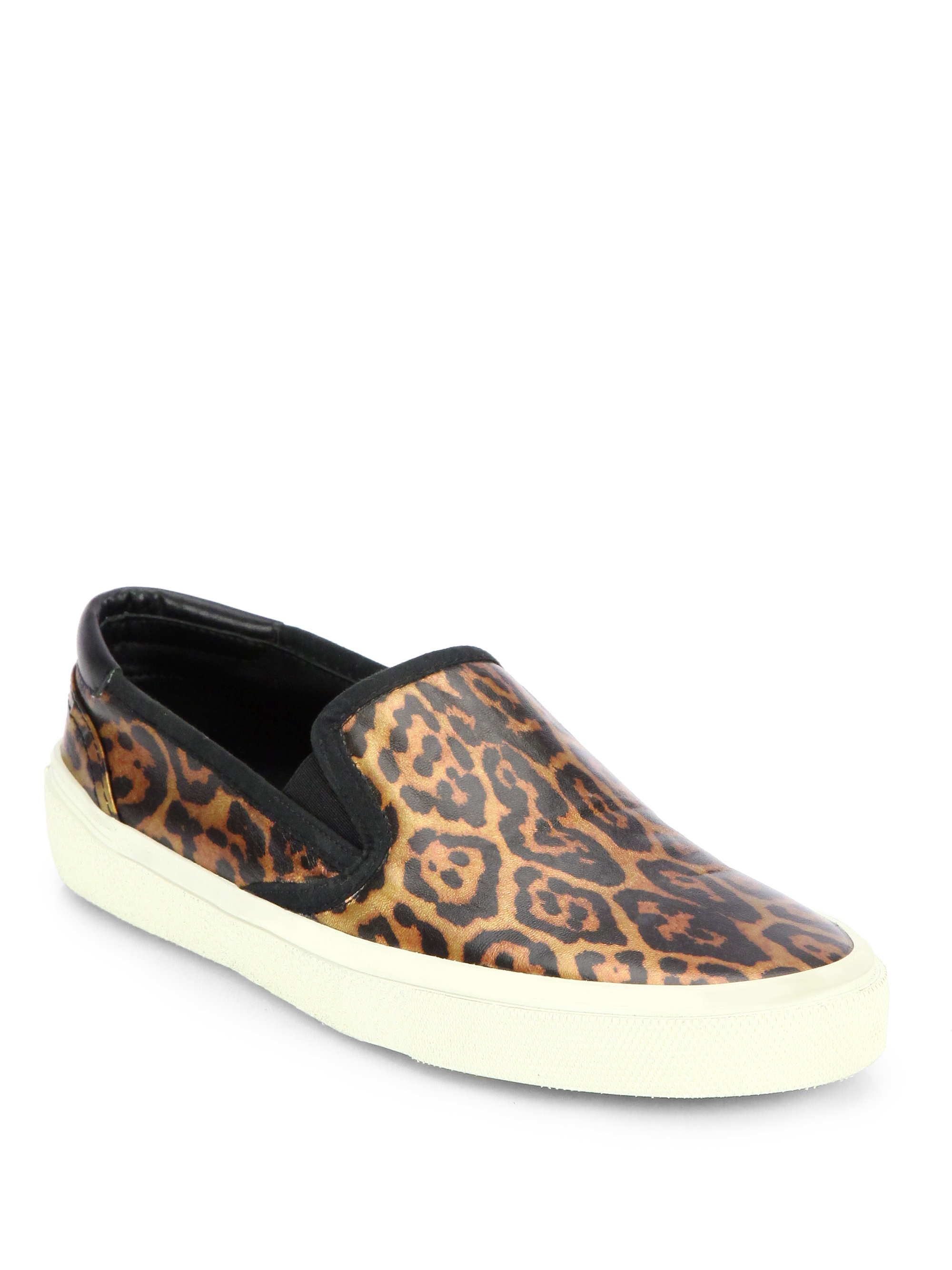 saint laurent leopardprint leather laceless sneakers in animal leopard lyst. Black Bedroom Furniture Sets. Home Design Ideas