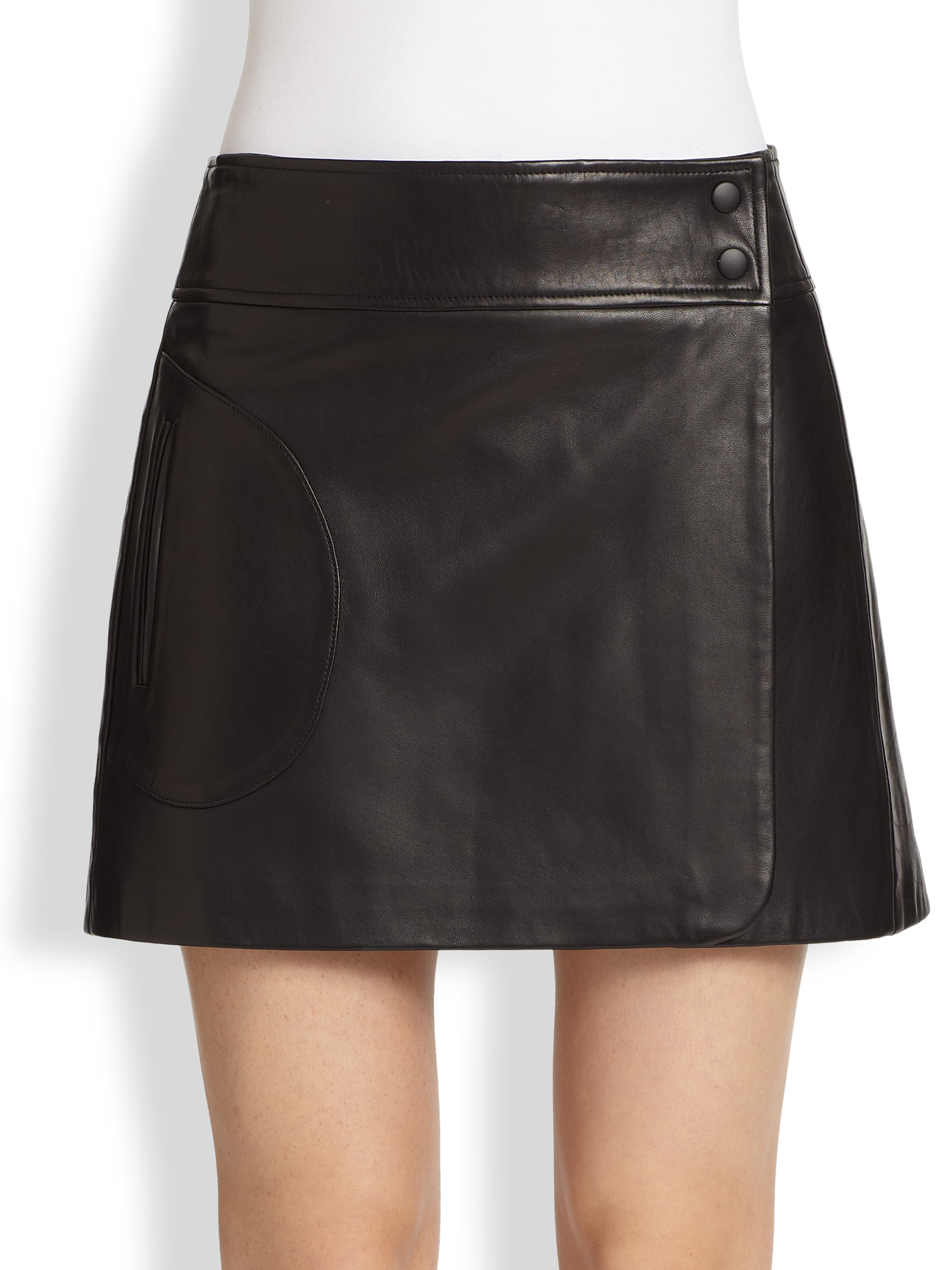 Theory Katen Browsal Leather Wrap Skirt in Black | Lyst