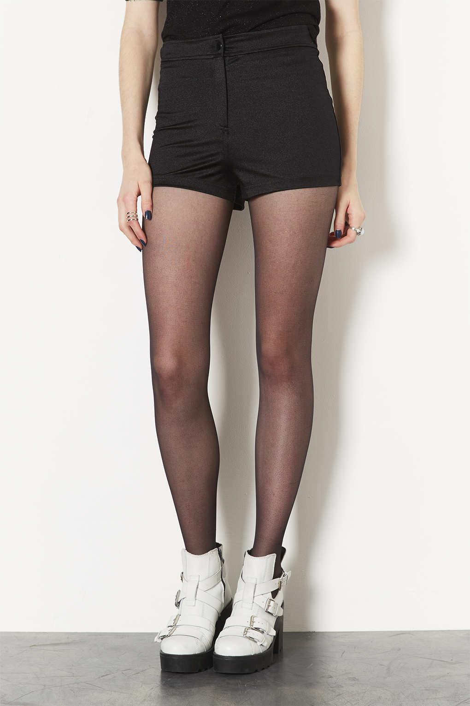 Topshop Petite Shiny High Waist Shorts in Black   Lyst