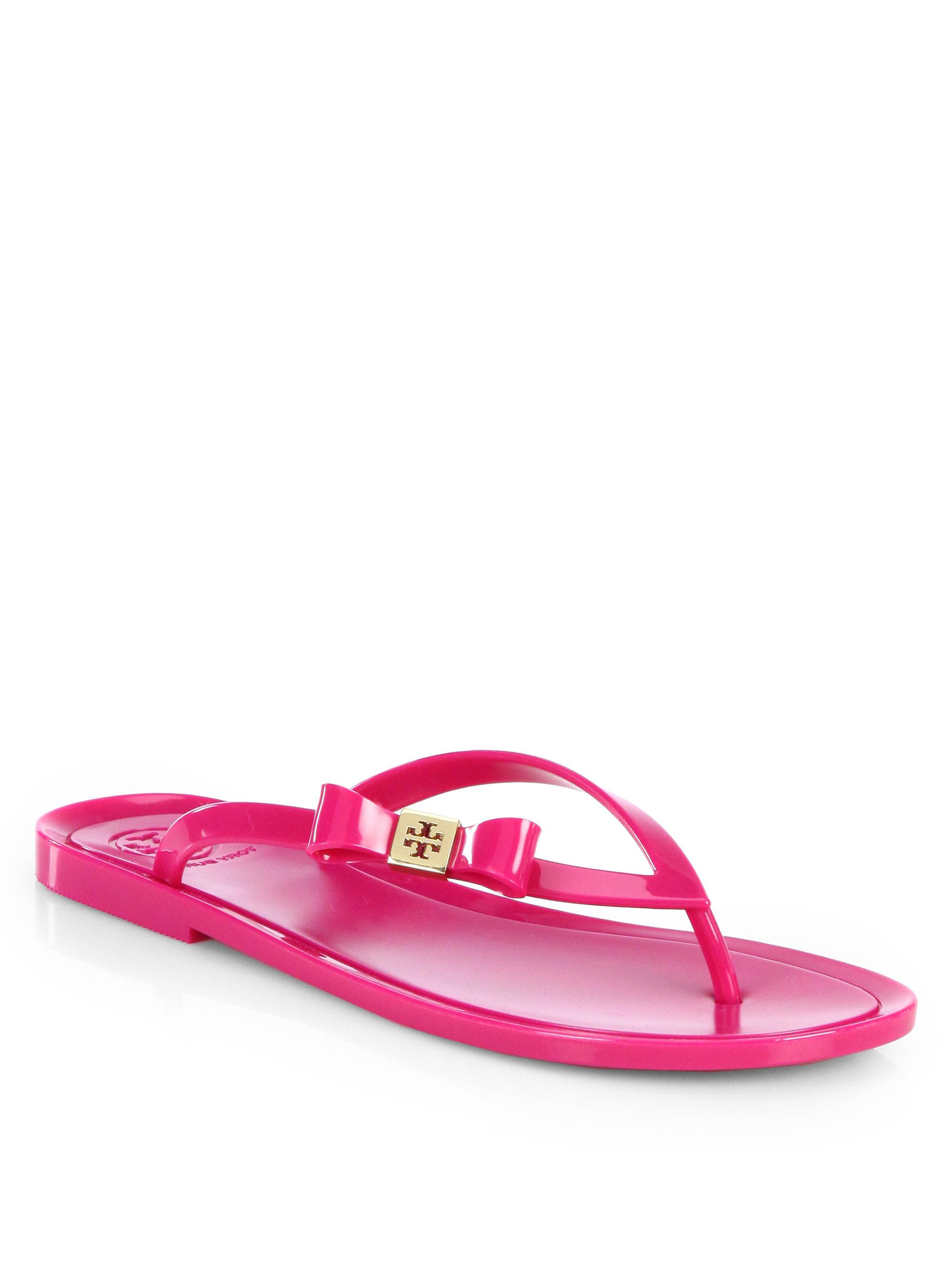 Tory Burch Michaela Jelly Thong Flip Flops In Pink Dark