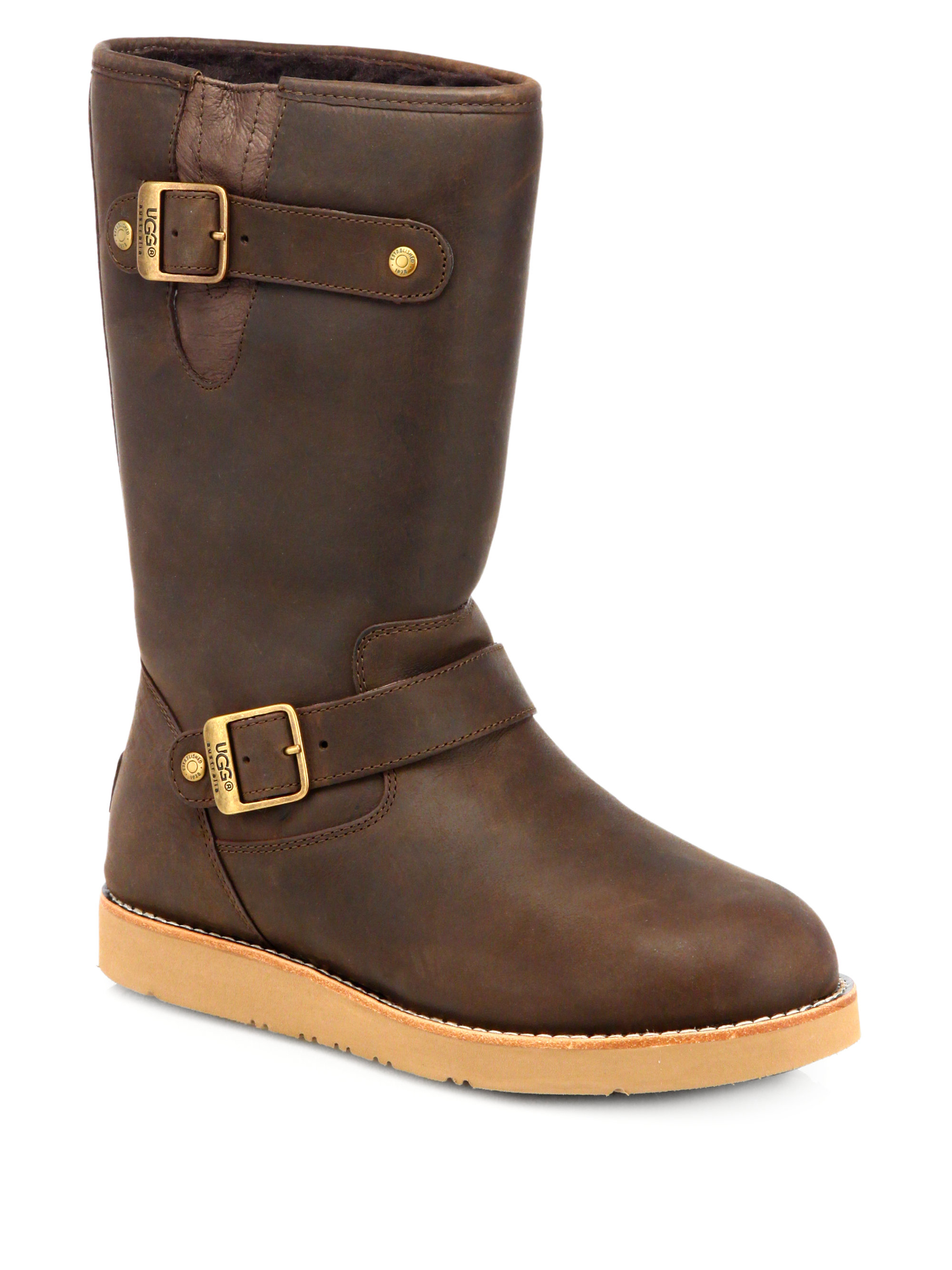 ugg kensington leather woollined boots in brown toast lyst