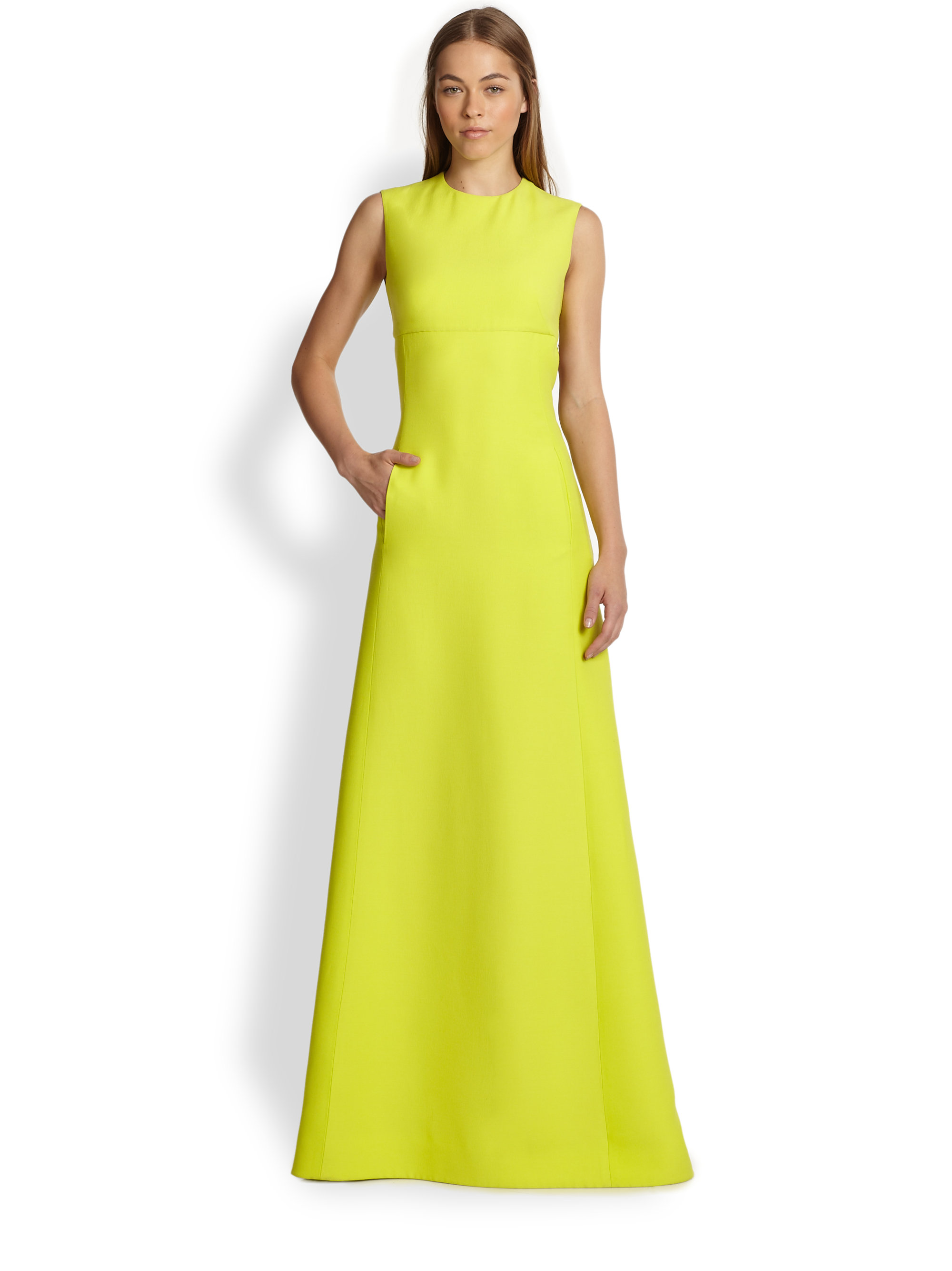 Lyst - Valentino Cutoutback Maxi Dress in Yellow