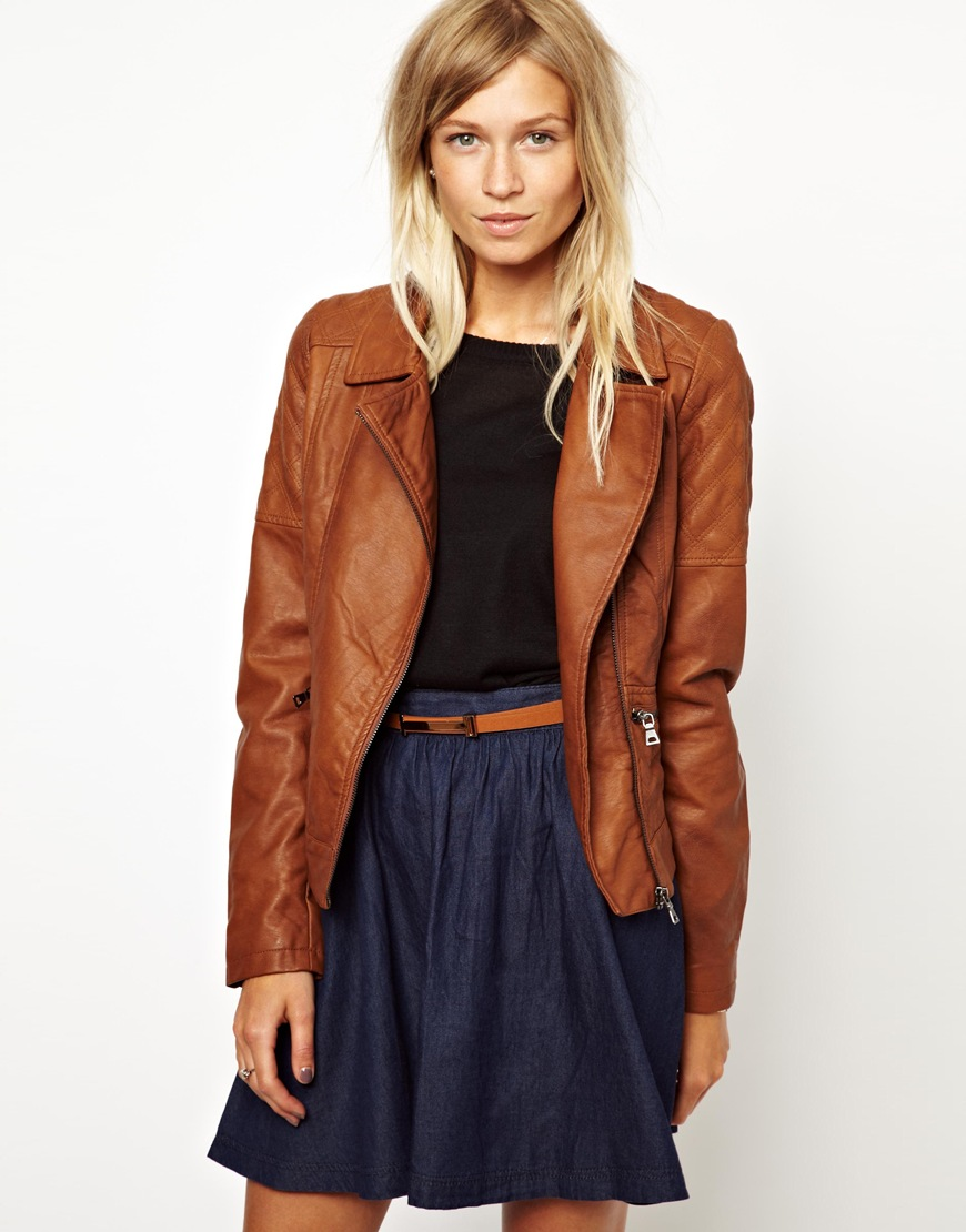 Asos Oasis Diamond Quilted Leather Look Jacket in Brown | Lyst : asos quilted leather jacket - Adamdwight.com