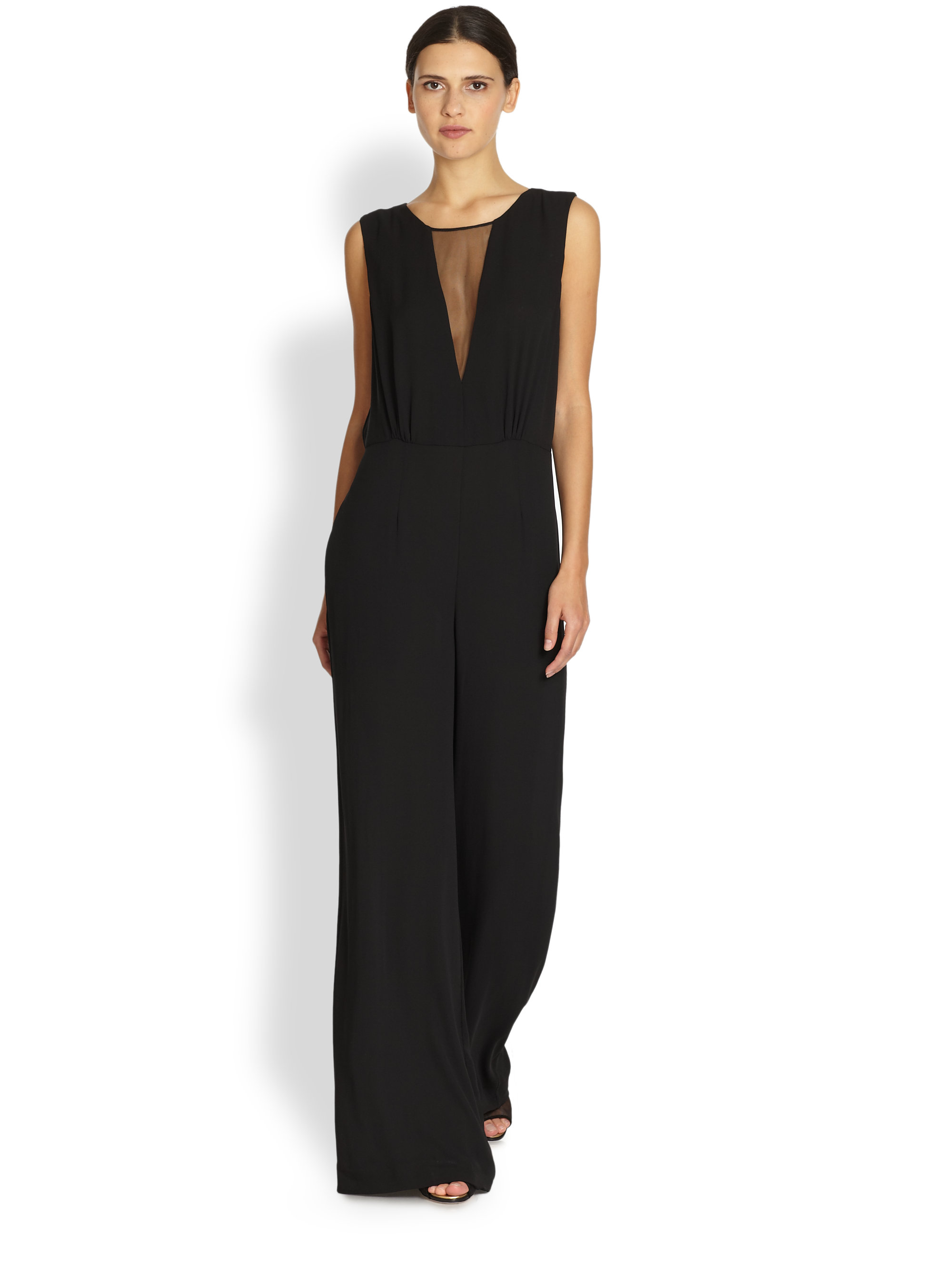 Bcbgmaxazria Sheer Paneled Wide Leg Jumpsuit in Black | Lyst