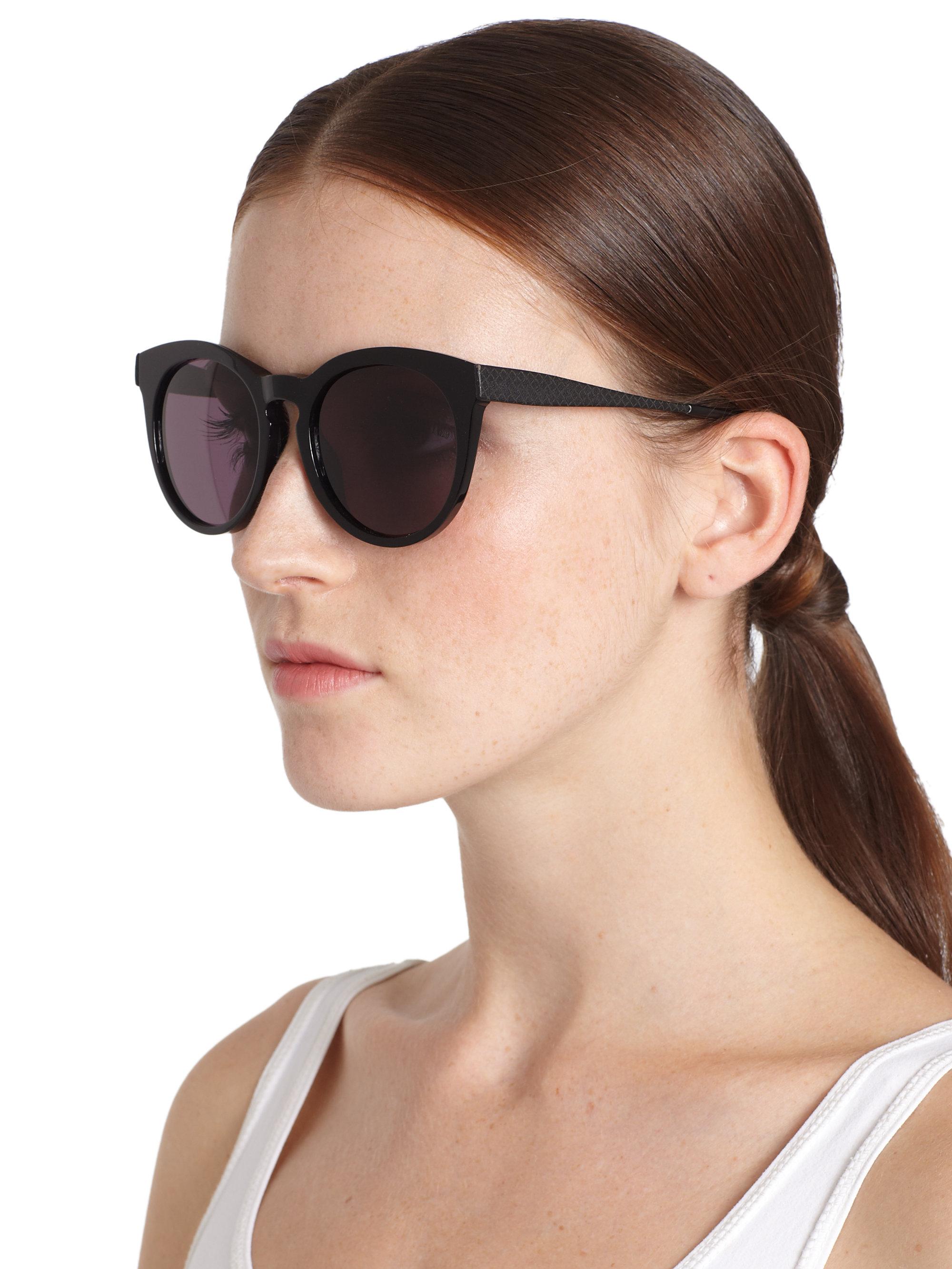 2683e78b4a Lyst - Bottega Veneta Oversized Round Sunglasses in Black