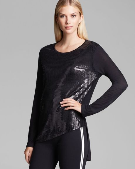 Dkny Sequin Front Asymmetric Tee in Black