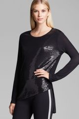 Dkny Sequin Front Asymmetric Tee in Black - Lyst