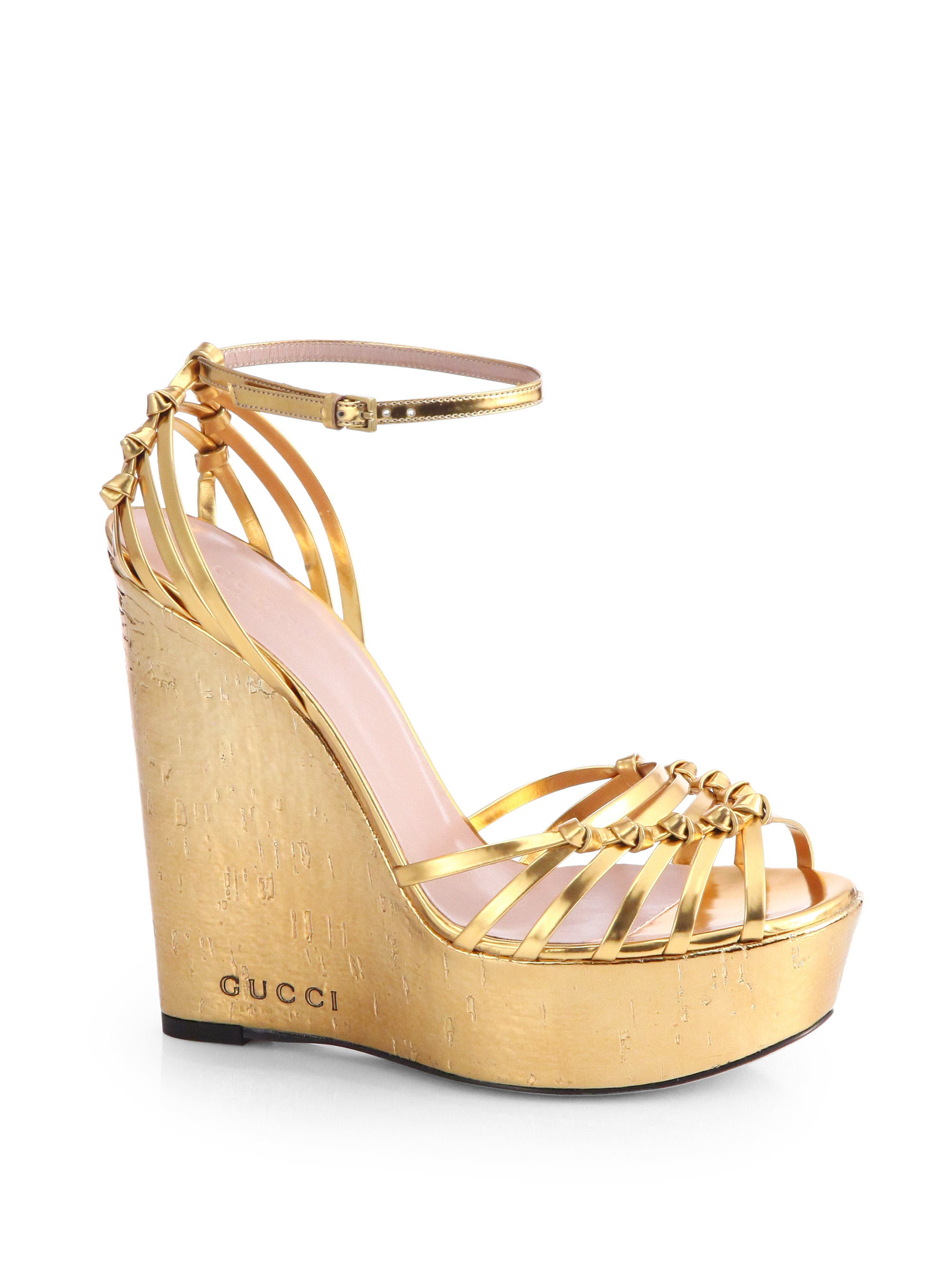 gucci metallic leather cork wedge sandals in gold lyst