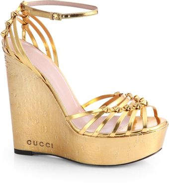 Gucci Metallic Leather Cork Wedge Sandals - Lyst