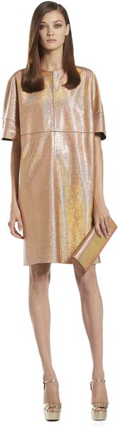Gucci Crackled Metallic Leather Dress - Lyst
