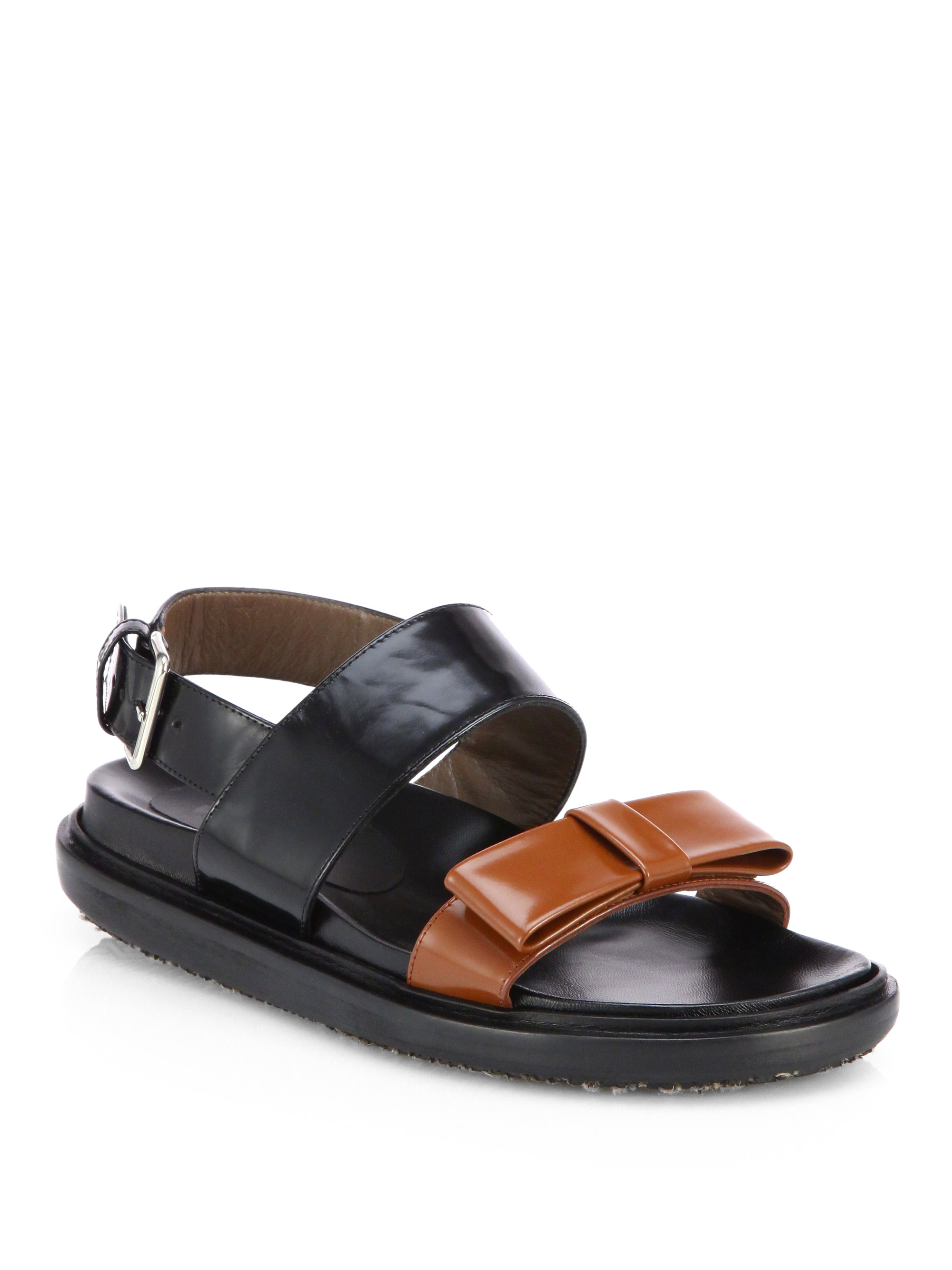 Marni Fussbett Bicolor Leather Bow Sandals In Black