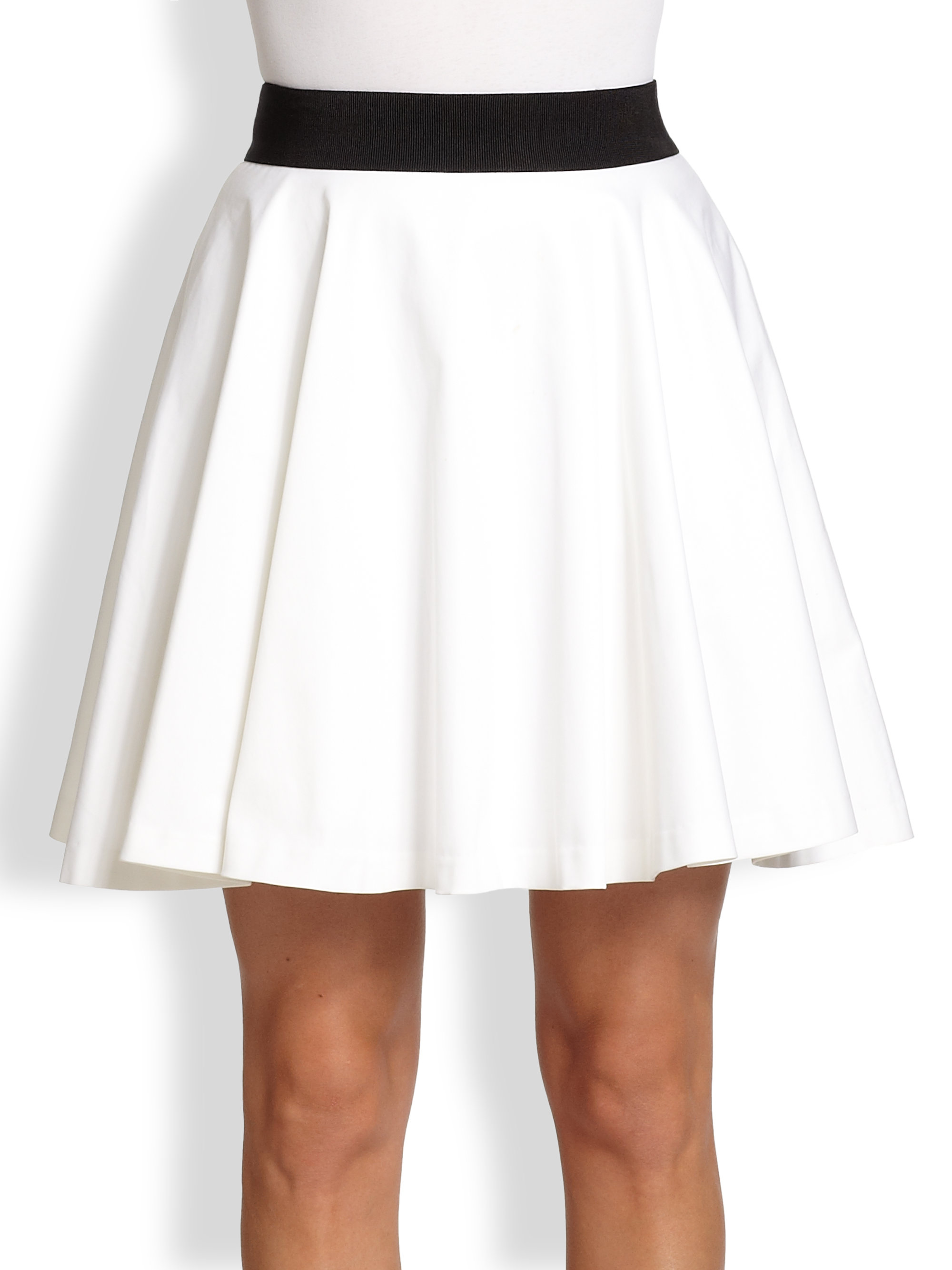 Milly Fit and Flare Mini Skirt in White | Lyst