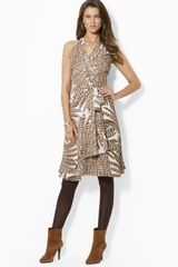 Ralph Lauren Lauren Feather Print Wrap Dress - Lyst