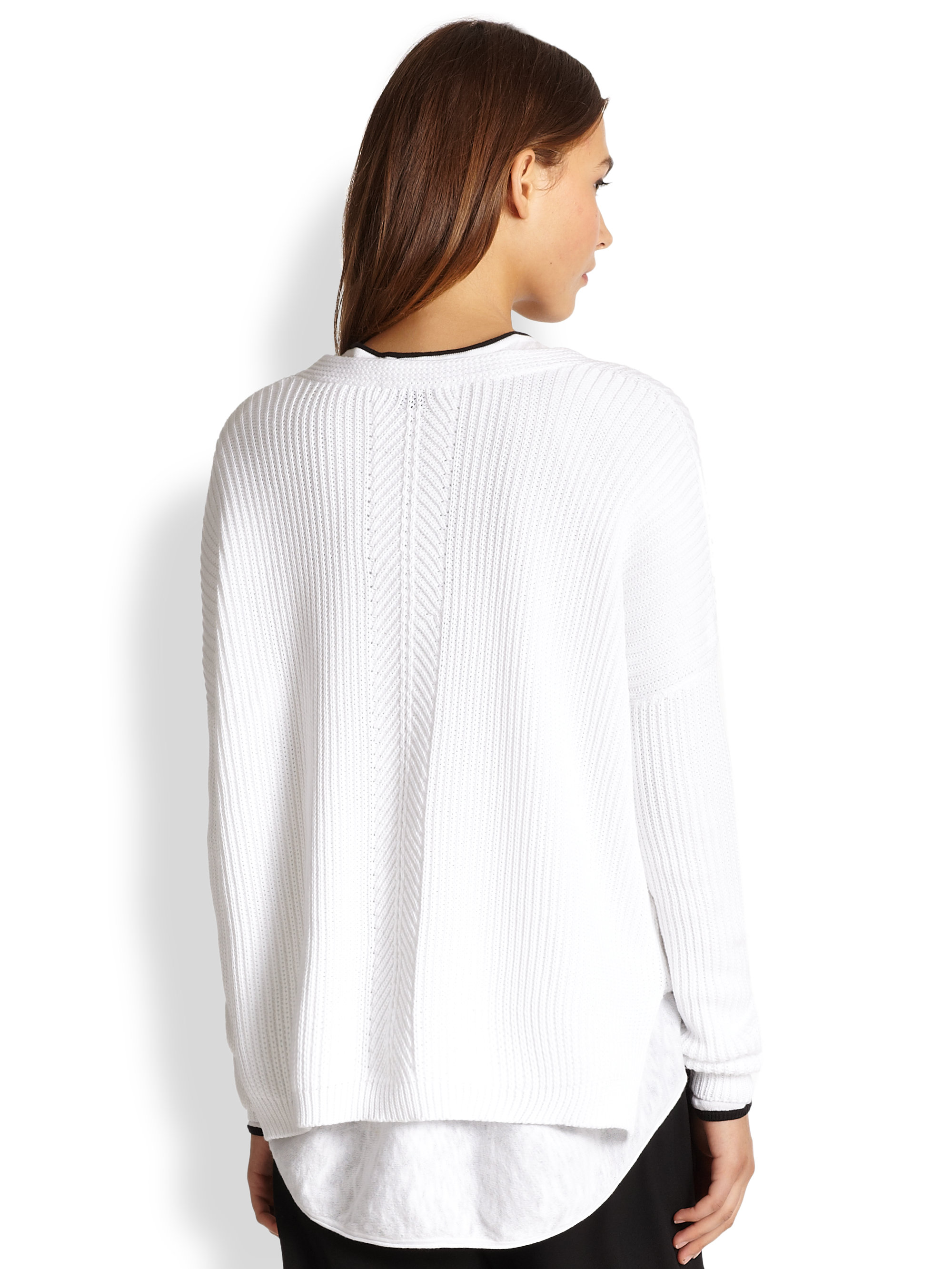 Vince Directionally Ribbed Cotton Sweater in White | Lyst