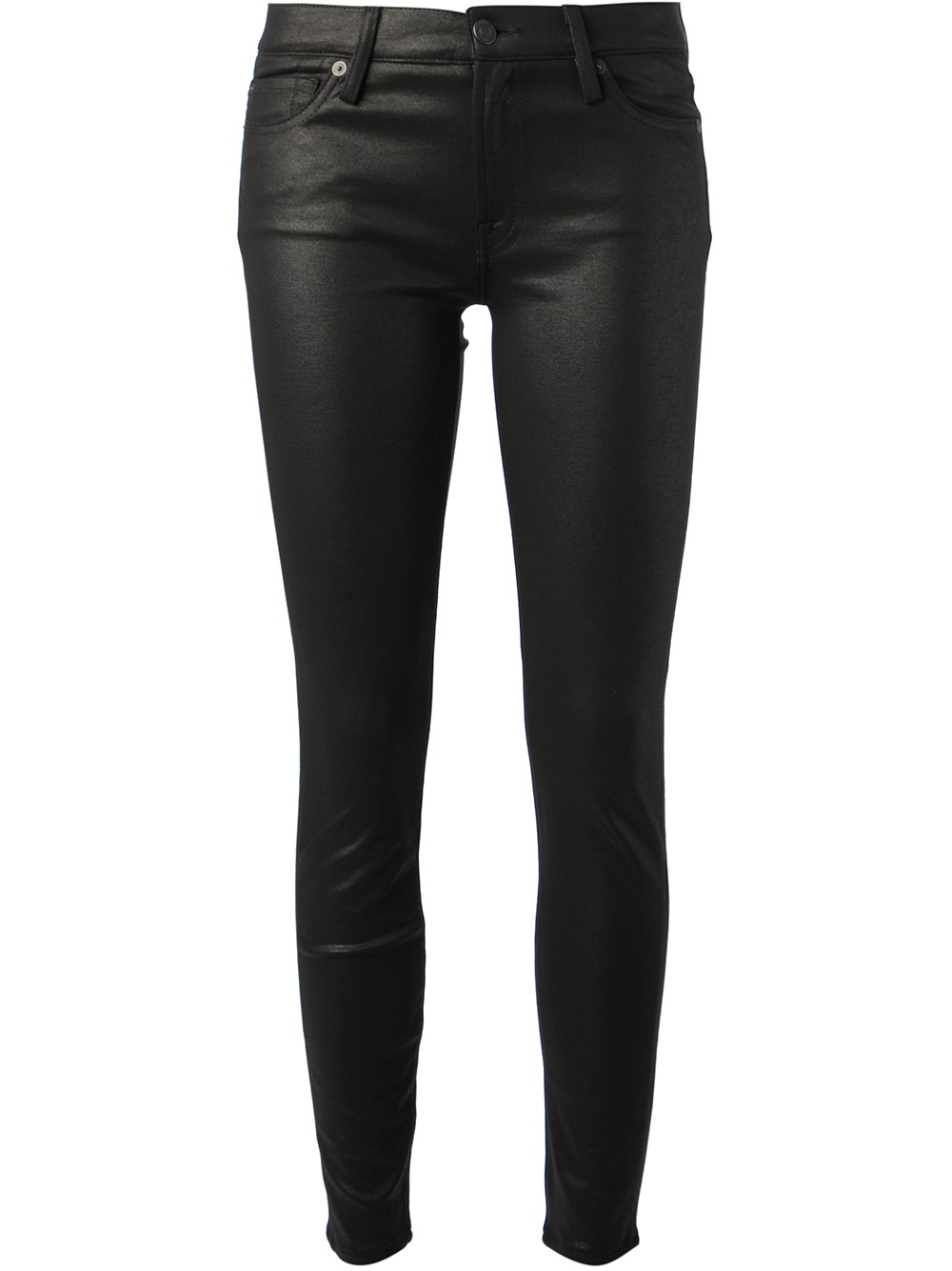 7 for all mankind Coated Skinny Jeans in Black | Lyst
