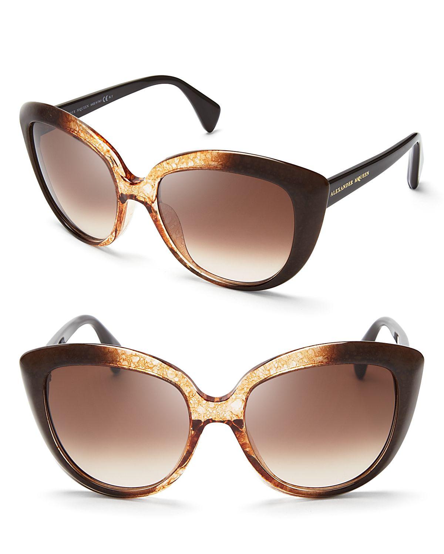 ef3d1f26ef Alexander McQueen Ombre Oversized Cat Eye Sunglasses in Brown - Lyst