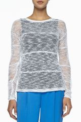 Alice + Olivia Sheer Textured Linen Sweater - Lyst