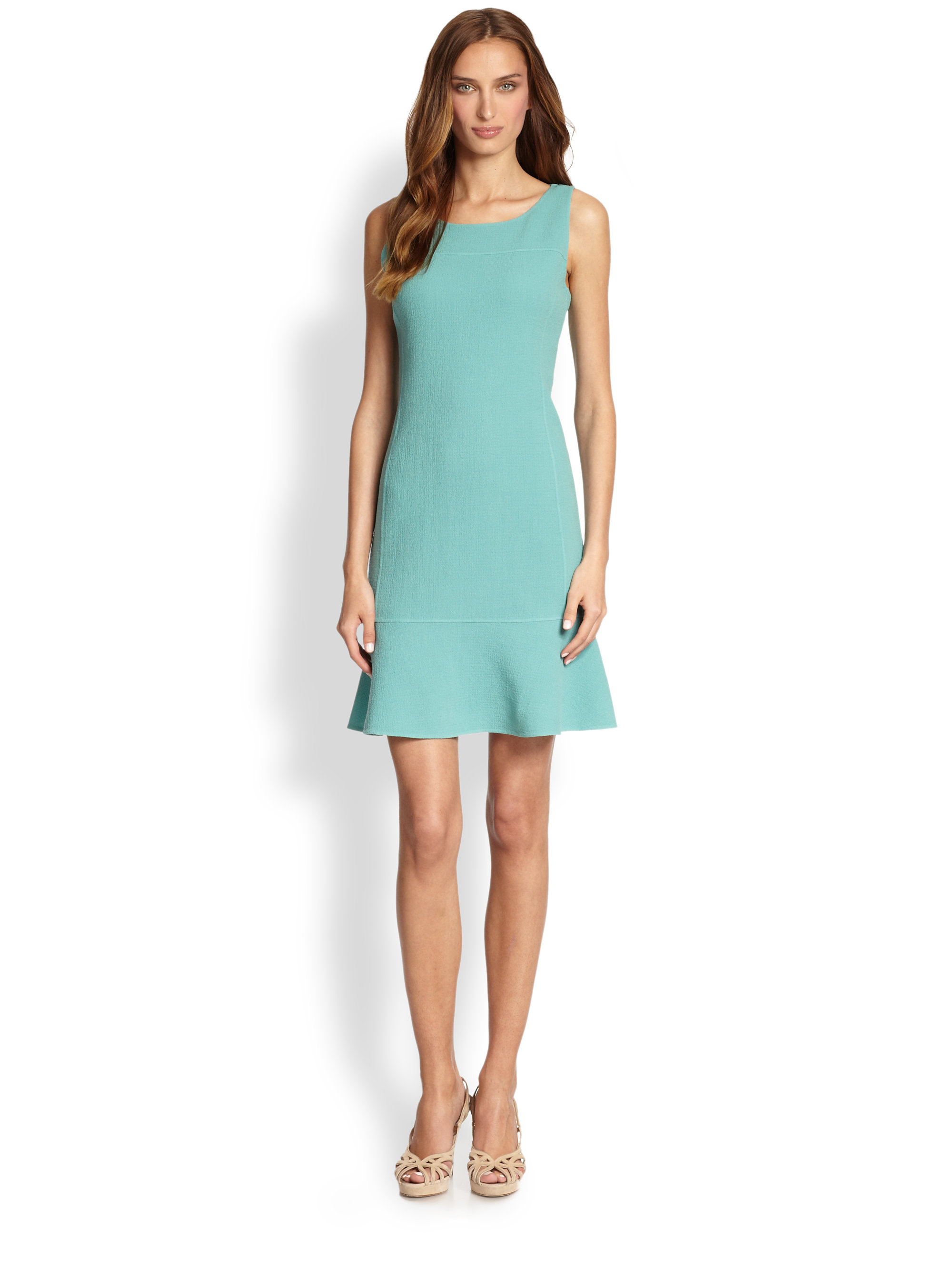 Armani Wool Crepe Flared Dress In Blue Kiwi Green Lyst