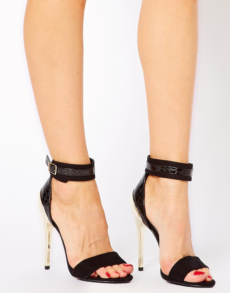 Asos New Look Stage Metal Heel Ankle Strap Shoes in Black | Lyst
