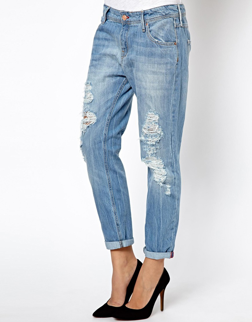 Lyst Asos Mango Light Wash Ripped Jeans In Blue